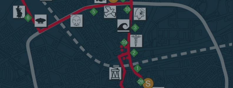Routekaartje Lichtjesroute 2016